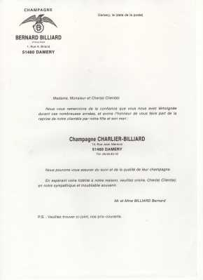 Transmission de la clientèle de B.Billiard